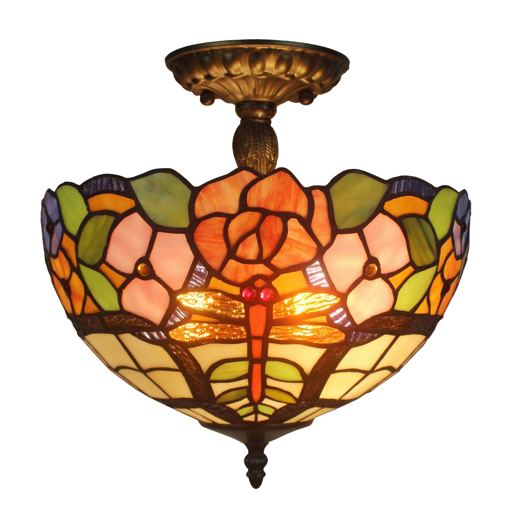 Amora lighting am050cl12 tiffany style ceiling lamp fixture 2 light